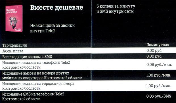 Тариф Вместе дешевле Теле2 г. Кострома